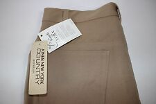 NWT JONES NEW YORK COUNTRY Size12 Women's Flat Front Khaki STRETCH Casual Pants