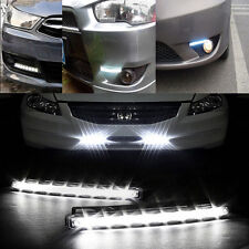 Wind Powered 8 LED Car DRL Daytime Running Light Fog Head Lamp Bulbs White