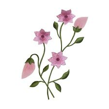 ID 6164 Pink Flowers Bunch Budding Plant Embroidered Iron On Applique Patch
