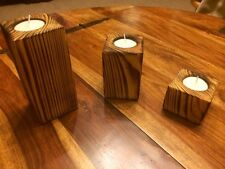 Chunky Wooden Rustic Solid Vintage HANDMADE Candle Holders Set Of 3 Tea Light