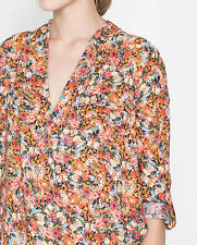 ZARA WOMAN CROSSOVER FLORAL PRINTED SHIRT BLOUSE TOP XS 6 8!