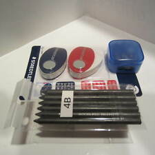 PACK OF 5 4B PENCIL REFILL LEAD-5.6mm+FREE SET OF 2 STAEDTLER ERASERS+SHARPENER