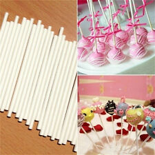 100pcs Pop Food Sucker Sticks Chocolate Cake Lollipop Sweet Candy Mold 15cm NT