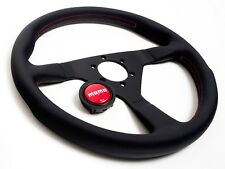 MOMO STEERING WHEEL MONTE CARLO 320MM BLACK LEATHER RED STITCH CIVIC INTEGRA