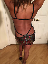 Sexy Bodycon Sheer Red Gold & Silver Sequin Mini with ultra low cut back Small