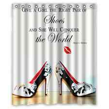 """Give Girl Right Shoes 12 holes to which rings attach Shower Curtain 60"""" x 72"""""""