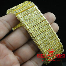 MENS NEW TWO TONE 10 ROW 3D BIG BOLD LAB DIAMOND SIMULATE CANARY BRACELET 7.75""