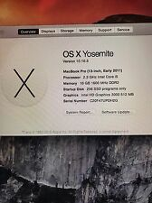 "2011 Apple MacBook Pro 13.3"" 2.3ghz Core i5 upgraded / FREE  overnight fedex"