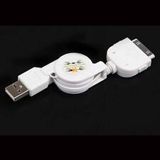 Retractable USB Data Sync&Charger Cable for iPod iPhone 4S 4 3GS Touch nano whit