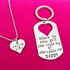 Silver Letter Heart Keychain Key Ring Necklace Daddy Daughter Dad Father Girls