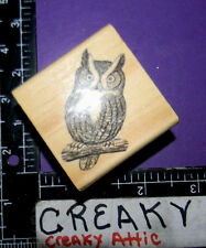 OWL REAL ON BRANCH RUBBER STAMPS