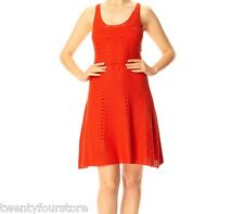 NWT FCUK French Connection Ingrid Flare Crochet Sweater Dress in Sierra Red sz 0