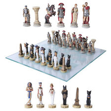 Colorful Egyptian Vs Roman Chess Set With Glass Board