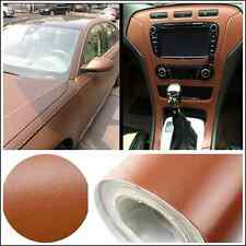 "Brown 15""x 39"" DIY 3D Leather Texture Car Interior Decoration Film Vinyl Sticker"