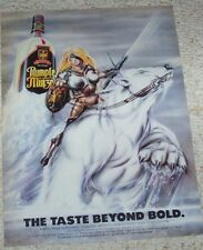 1987 ad page - Rumple Minze schnapps Sexy LADY WARRIOR bear artwork art PRINT AD