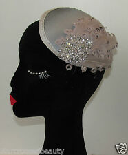 Silver Grey Feather Fascinator Headpiece Hair Clip Races Vintage 1920s Hat Q68