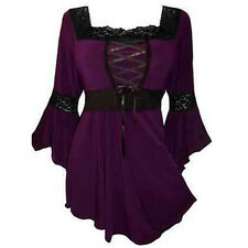 Vintage Women's Flared Sleeve Lace-up Loose T-Shirt Goth Punk Tops Blouse Plus