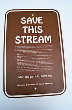 Save This Stream Minnesota DNR Sign Vintage