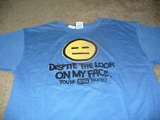 Emoji Face Mens Funny Blue T-Shirt  Size Small S