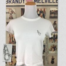 Brandy Melville white cropped Bryn Skeleton Hands And Bottle embroidery top NWT