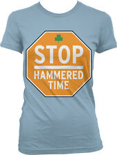 Stop Hammered Time - Clover Drinking St Patrick's Day Juniors T-shirt