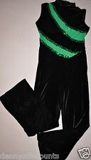 Adult size 3XLarge Black Velvet Unitard Marching Band Jumpsuit green Sequins-DSI