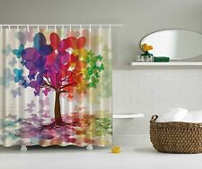 Rainbow Purple Pink Orange Green Blue Butterfly Tree Fabric Shower Curtain