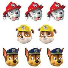 PAW PATROL Paper Masks Birthday Party Supplies Favors Chase,Rubble,Marshall~8ct
