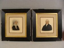 Pair Antique 19C After Thomas Hargreaves Portrait Husband & Wife W/C  Paintings