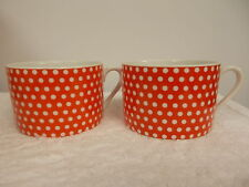 2 Vintage Fitz and Floyd Red and White Polka Dot Coffee Tea Cups Mugs