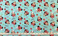 DISNEY MINNIE MOUSE TEAL BLUE LICENSED COTTON QUILT FABRIC