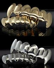 4 pc Fangs Gold & Silver Tone Grill Combo Set Top Bottom Grillz w/Molds Teeth