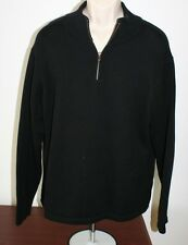 LL Bean Mens Sweater Black Pullover Large Outdoor Wear Cotton Zipper Used