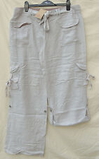 Love Label - Grey Long Cargo Trousers With Belt - Rolls Up - 14-16  BNWT