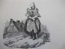 Lithographie ancienne originale H Bellangé costumes romantisme soldats paysans