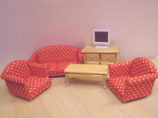 Dolls House Furniture Set : Sofa, 2 Armchairs, Coffee Table, Cabinet, TV