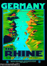 The Rhine Germany German Europe European Vintage Travel Advertisement Poster