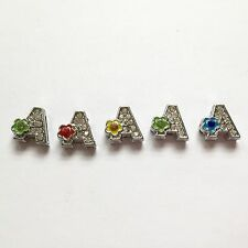 8mm Slide Charms Letter A (5 Piece) US Seller