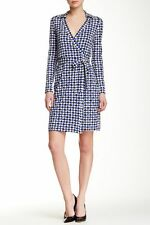 NWT Diane von Furstenberg New Jeanne Two Check Dot Blue Wrap Dress 14 $398
