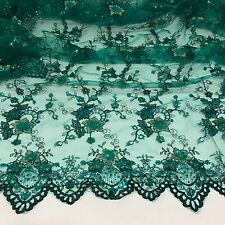 "TEAL MESH W/EMBROIDERY GOLD SILVER SEQUINS & BEADS LACE FABRIC 50"" WIDE 1.5 YD"