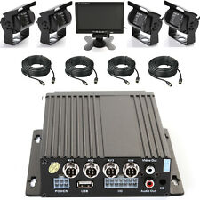 """4CH Car Mobile DVR Recorder+4 IR Night Vision CCTV Camera+Cable+7""""LCD Screen KIT"""