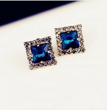 Free shipping Womens 14K Gold Plated Crystal Square Shape Earrings Stud Y-N09