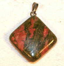 Silver Unakite Crystal Gemstone Diamond shaped Pendant Reiki Blessed in Gift bag