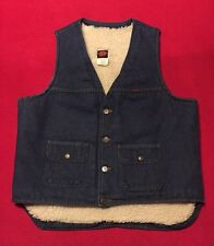 Vintage Big Ben Sherpa Lined Blue Jean Vest Large Very Nice Made In The U.S.A.