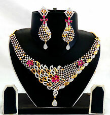 Wedding wear Two tone Plated American Diamond Jewellery-CZ Bridal Set-ADJW206