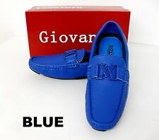 Men's GIOVANNI  faux leather slip on casual shoes Brown Blue Camel Red M15-20