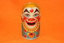 VINTAGE 1940 J.Chein Clown Sticking Tongue Out Coin Money Toy Bank with plug