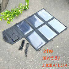 18V 21W Foldable Portable Solar Panel Battery Charger 2 Port USB Power Bank Pack