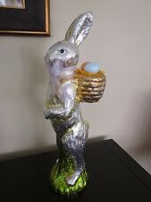 "16.5"" FAUX CHOCOLATE FOIL EASTER SPRING BUNNY RABBIT BASKET EGGS FIGURINE NEW"