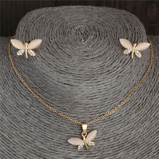Lovely Crystal Opal Dragonfly Necklace Earrings 18K Gold Filled Fine Jewelry Set